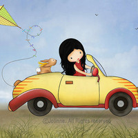 Girl in car - Kids wall art, childrens room decor, kids room poster, art print