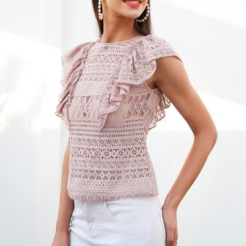 Hollowed Out Ruffle Blouse