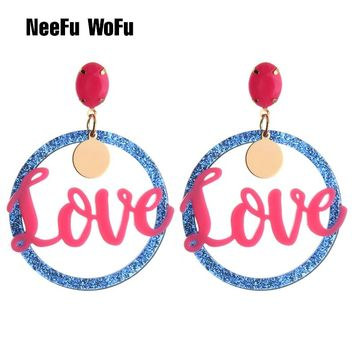 NeeFu WoFu Love Letter Crystal Long Earrings Big Flamingo Large Earrings Resin Brincos Brand earrings Ear Fine Jewelry Gift