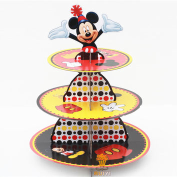 1set cartoon anime mickey mouse baby shower birthday party decorations supplies cardboard cupcake stand hold 24 cupcakes