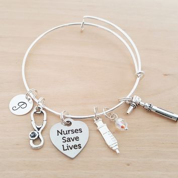 Nurses Save Lives Bracelet - Nurse Gift - Personalized Bracelet - Adjustable Bangle - Birthstone Bracelet - Personalized Jewelry
