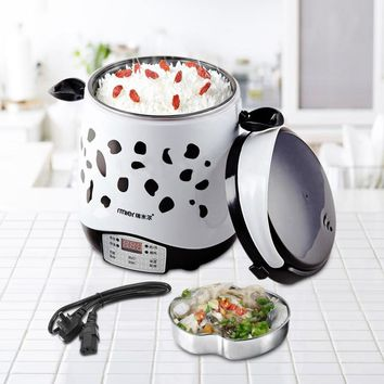 1.5L Rice Cooker 220V 250W Timing Mini Food Warmer Multifunctional Cook Rice Gruel&Soup Stain Steel Liner Home Travel Student