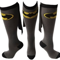DC Comics BATMAN Logo Licensed Knee High Socks w/ Cape