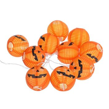 Halloween Pumpkin Lantern 10 LED String Fairy Lights Battery Powered for Indoor Outdoor Party Garden Decoration Ornaments