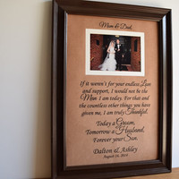 Parents of the Groom Gift, Mother of the Groom Gift, Father of the Groom Gift, Parents Thank You Gift, Personalized Picture Frame, Wedding