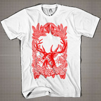 Vintage Christmas Deer  Mens and Women T-Shirt Available Color Black And White