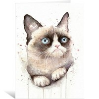 Grumpy Watercolor Cat Greeting Cards by OlechkaDesign | Nuvango