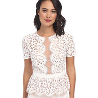 BCBGMAXAZRIA Lilia Scallop Lace Peplum Top Off White - Zappos.com Free Shipping BOTH Ways