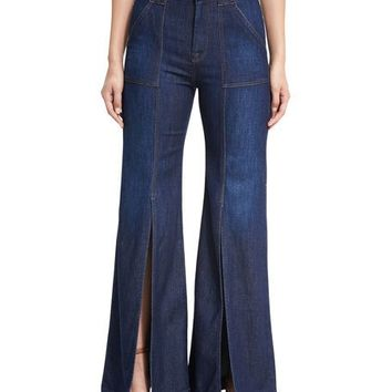 7 For All Mankind Palazzo Slit-Front High-Waist Denim Pants, Blue