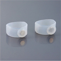 Pair of Lose Weight Silicone Magnetic Toe Rings (White)