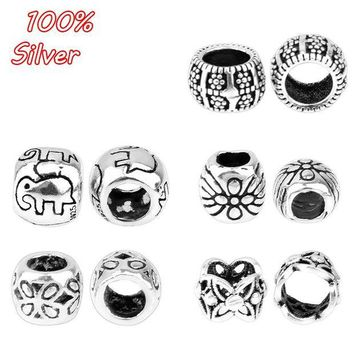 ac spbest 4pcs 925 pure silver fittings antique silver color round elephant pattern bead cap accessories