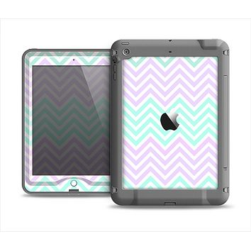 The Light Teal & Purple Sharp Chevron Apple iPad Mini LifeProof Nuud Case Skin Set