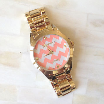 Chevron Gold Bracelet Watch