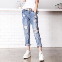 American Apparel Sale Cotton Mid Pl0aid Women Jeans 2016 New Cowboy Nine Pants Baggy Jeans Casual Fashion Taobao One Generation