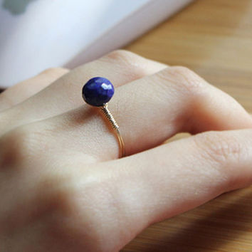 lapis ring,handmade ring, lazuli ring,mother daughter ring,goldclad wire,delicate ring,crystal,natrual stone jewelry,lapis lazuli jewelry