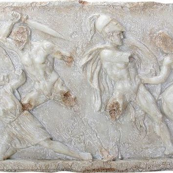 Greek Plaque Battle Between Greeks and Amazons Wall Hanging Relief 26.75L
