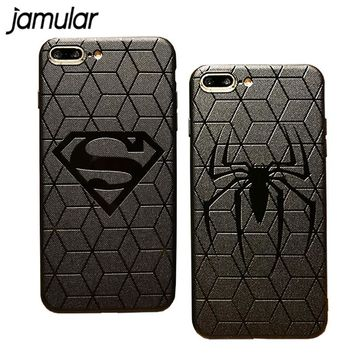 JAMULAR Superman Batman Ironman Captain America 3D Touch Soft Phone Case For Iphone X XS MAX XR 7 8 Plus 6 6s Plus Funda Capa