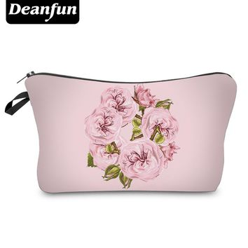 Deanfun 3D Printed Cosmetic Bags Pink Flowers Organizer For Travel Women's Makeup Kit 2017 New Fashion Necessary Storage 50773
