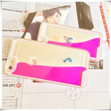 LMFEJ6 Fish Dynamic Hot Pink Liquid Glitter Sand Quicksand Star Bling Clear iPhone case Phone Case