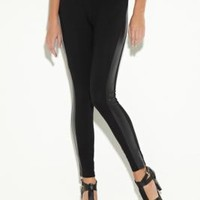 Natalie Faux-Leather-Stripe Leggings