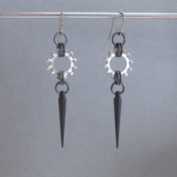 Spike Earrings, Industrial Jewelry, Hardware Jewelry, Gear Earrings, Washer Earrings, Long Dangle Earrings Post Apocalyptic, Stainless Steel