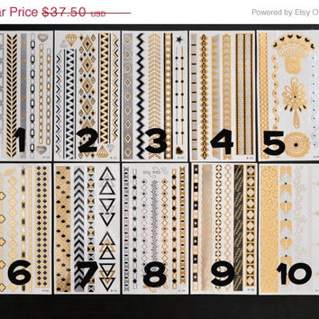 SALE!  Pick Any Five Bundle Pack! - Metallic Gold Silver and Black Temporary Tattoo - Flash Tattoo - Jewelry - Body Ink Art - Stylish