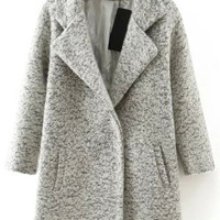 Grey Lapel Long Sleeve Woolen Coat with Pocket
