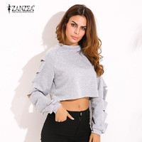 2017 Autumn Women Sexy Crop Hoodies Sweatshirts Casual Loose O Neck Long Sleeve Ripped Hollow Out Solid Cotton Pullovers Tops