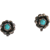 Sterling Turquoise Dimensional Flower Earrings Figural Vintage circa 1940