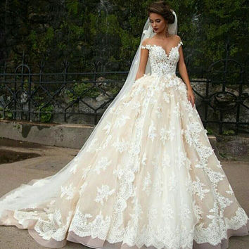 Newest White Lace Weeding Dress 2016 Appliques Sweetheart Ball Gown Wedding Dresses Cap Sleeve Bridal Gowns With Lace Up