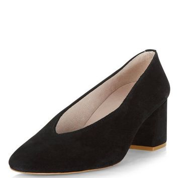 Black Premium Leather Flared Court Shoes