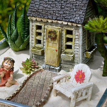 Fairy Garden Set ~ American Cottage ~ Door Opens ~ Daisy Chair  ~ Walkway ~ Use in Flower Garden ~ Planter Option ~ and ~  Fairy Option