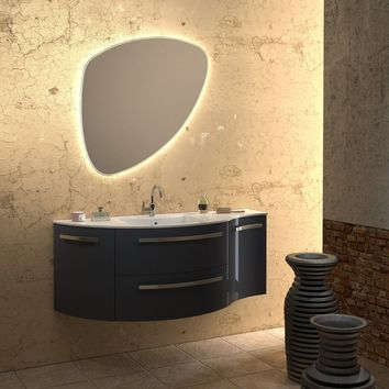 Ambra 52 in. Wall Vanity Left Round Right Concave Cabinet Set Bath Furniture