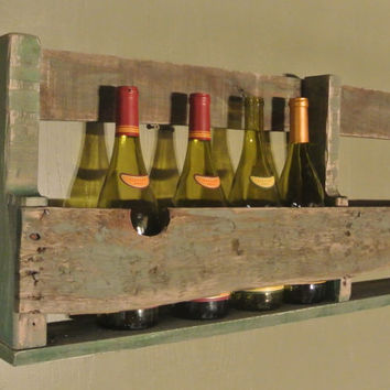 Wall Mount Wine / Liquor Rack Made From Recycled Pallets Sage Green Wash Paint - Nice Primitive / Rustic Look!