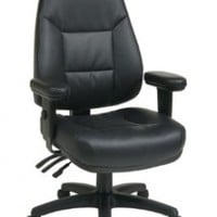 Office Star WorkSmart Professional Dual Function Ergonomic High Back Eco Leather Chair, Black