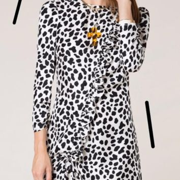 Hot style women's black and white leopard print long sleeve skirt with slim waist