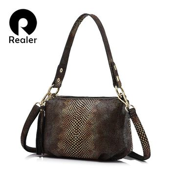 REALER brand crossbody bags for women genuine leather shoulder bag female  gold python pattern leather handbag with tassel