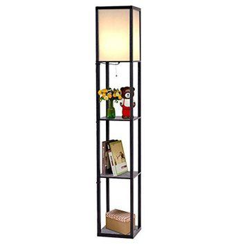 Safstar Modern Shelf Floor Lamp w/ 3 Storage Shelves for Lighting Home Living Room Bedroom