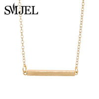 Fashion Tiny Square Bar Necklace for  Personalized Geometric Bar Long Necklace  Pendants Jewelry Gift N010
