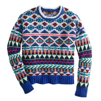 J.Crew Womens Collection Cashmere Graphic Fair Isle Sweater