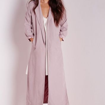 Missguided - Side Split Maxi Duster Coat Mauve