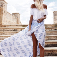 White Bohemian Printed High Slit Maxi Skirt