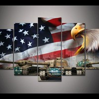 World Of Tanks Tank Eagles Military USA Flag Wall Decor Canvas Picture