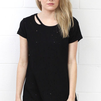 Distressed Out + Cut Out Short Sleeve Top {Black}