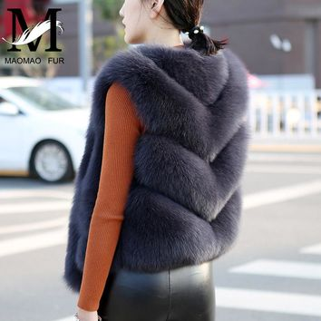 Women Natural Fox Fur Vest Solid Full Pelt Autumn Winter Warm Thick Sleeveless Coat Female Short Style Real Fox Fur Vests