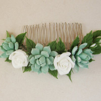 MADE TO ORDER. Bridal succulent hair comb, succulent hair clip, wedding real touch succulent hair clip, Bridesmaids hair comb