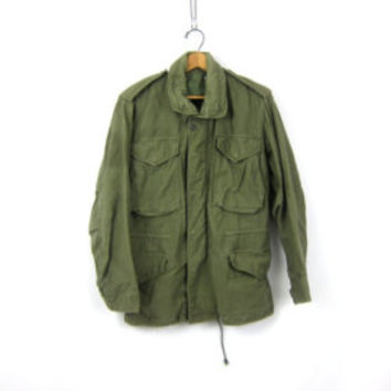 Military Jacket 80s Coat Army Commando Cargo FLEECE LINED Field Grunge Olive Drab Green Jacket 1980s Vintage Utility Small