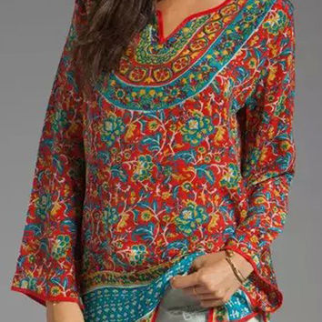 Red Floral Print Long Sleeve Blouse