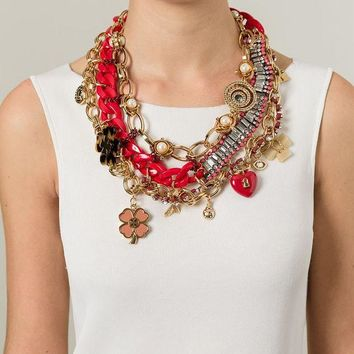 ONETOW Tory Burch embellished charm bib necklace