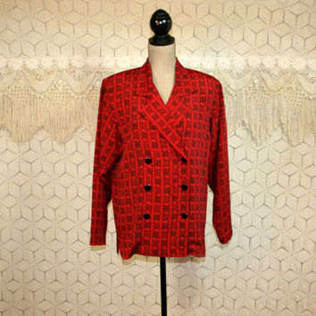 80s Red Plaid Jacket Double Breasted Lightweight Women Suit Jacket Medium Large Womens Jackets Fashion Jacket Liz Claiborne Vintage Clothing